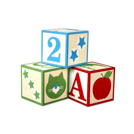 Melissa & Doug Set of 3 Jumbo Wooden Abc-123 Alphabet and Number Toy Blocks Nursery Playroom Décor 30543