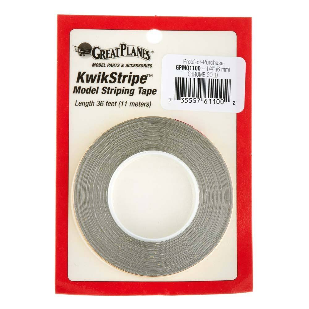 Great Planes Striping Tape - Chrome Gold, 1/4""