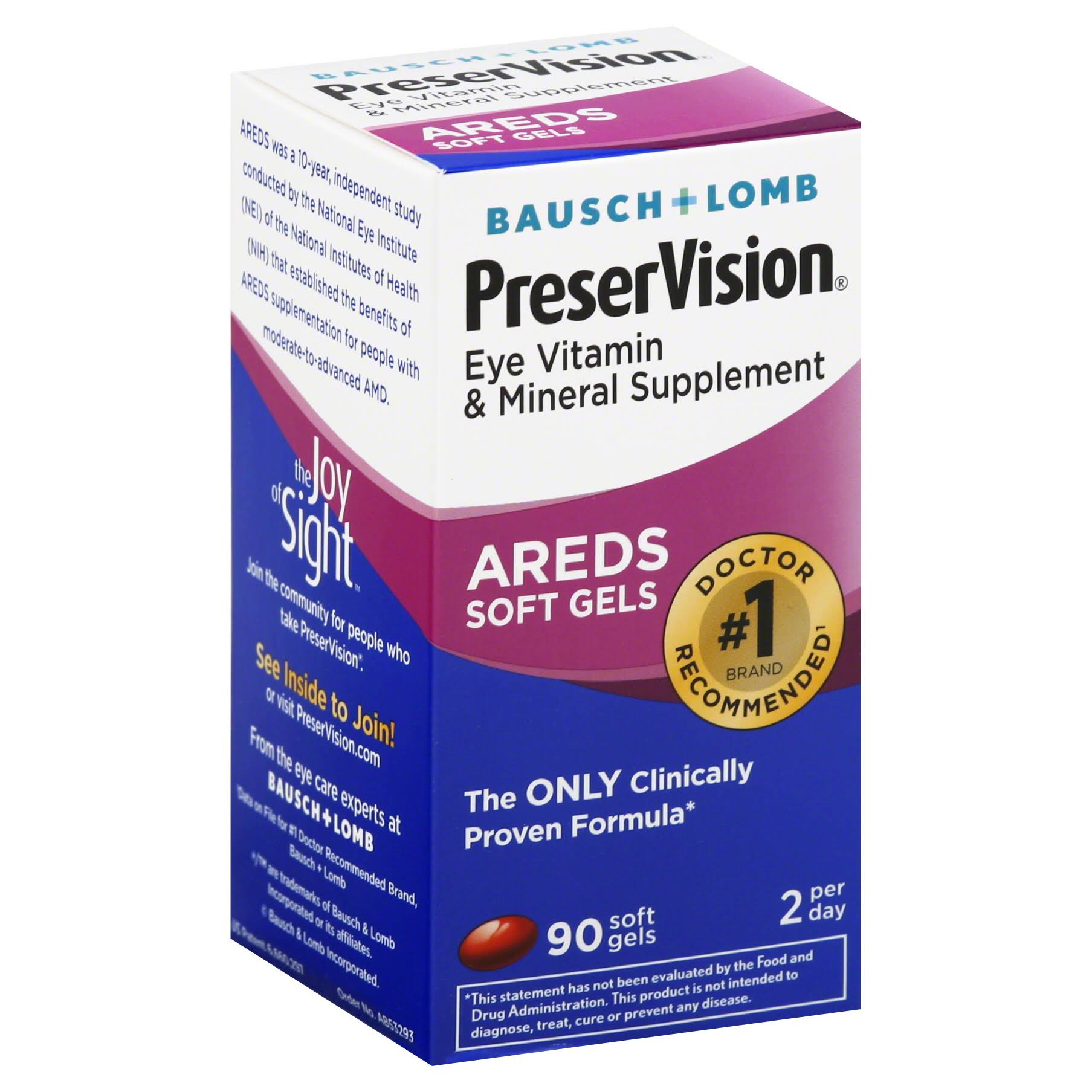 Bausch and Lomb Preser Vision Eye Vitamin and Mineral Supplement - 90ct