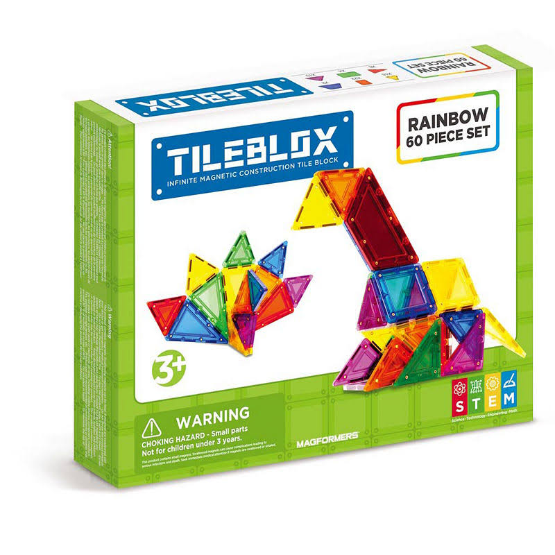 Tileblox Magformers Magnetic Construction Set - Rainbow, 60pcs