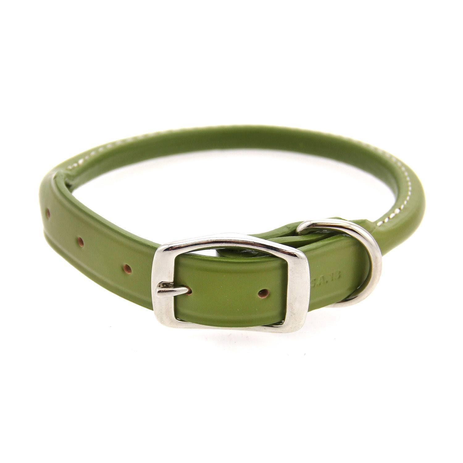 "Auburn Leathercrafters Round Leather Dog Collar - Green 22"" L x 1"" W"