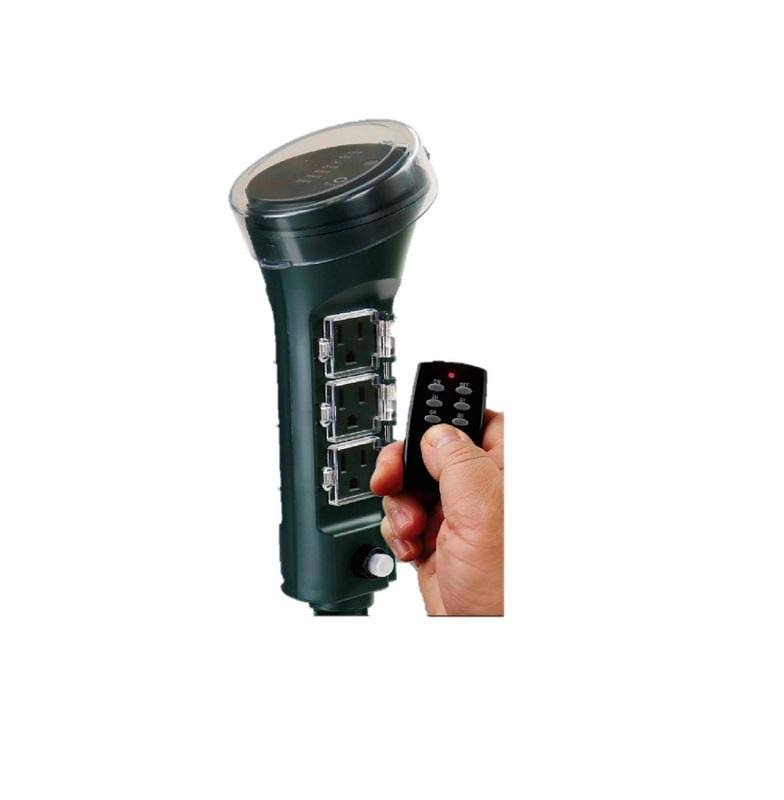 Prime Outdoor 6 Outlet Photocell Power Stake Timer 125 Volt Green