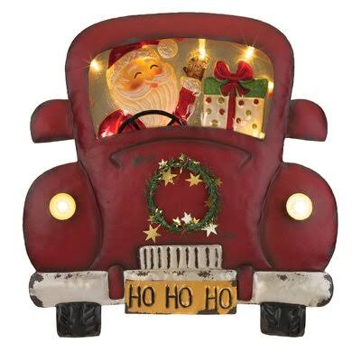 Regal Art & Gift 12468 LED Light Truck Hanging Wall Decor, Santa, Red