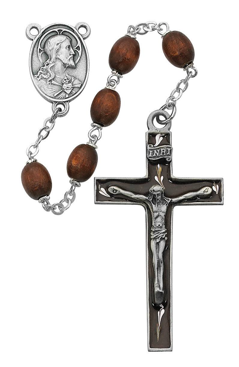 Brown Oval Wood Rosary