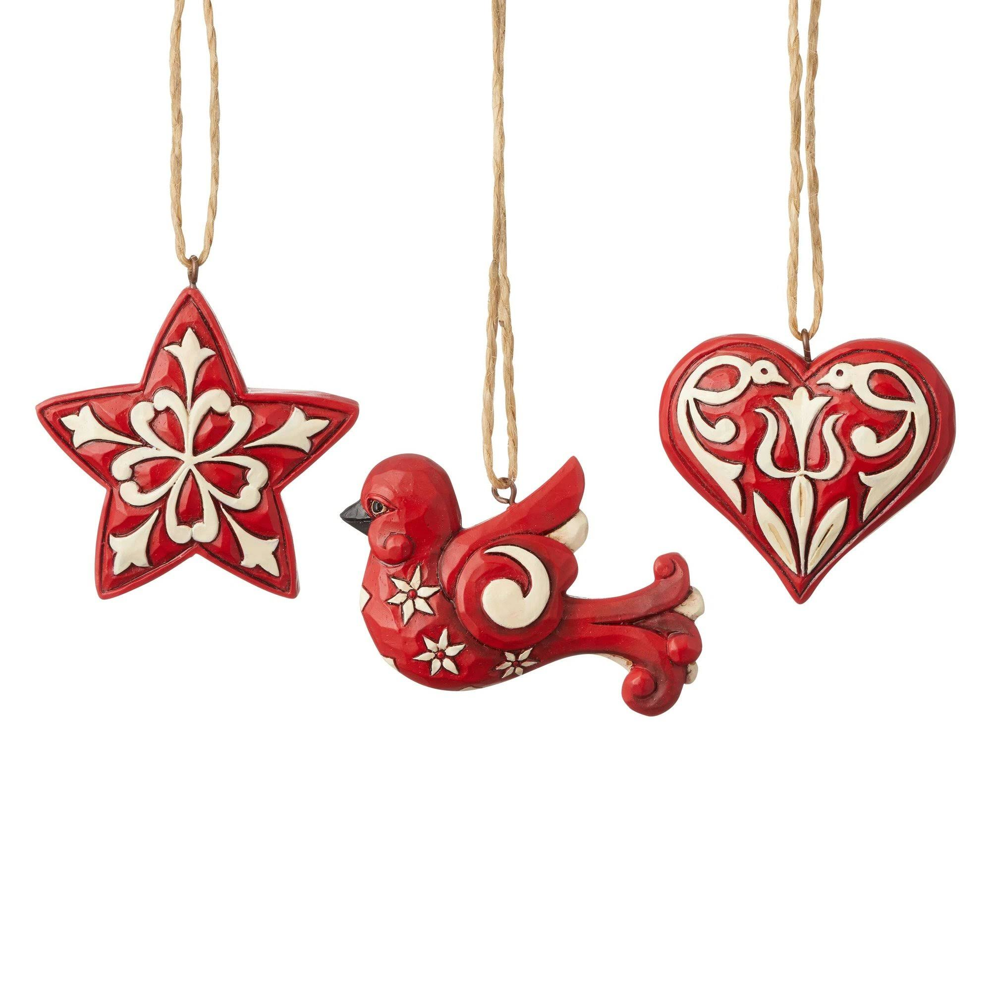 Jim Shore Nordic Noel (Set of 3) Mini Hanging Ornaments
