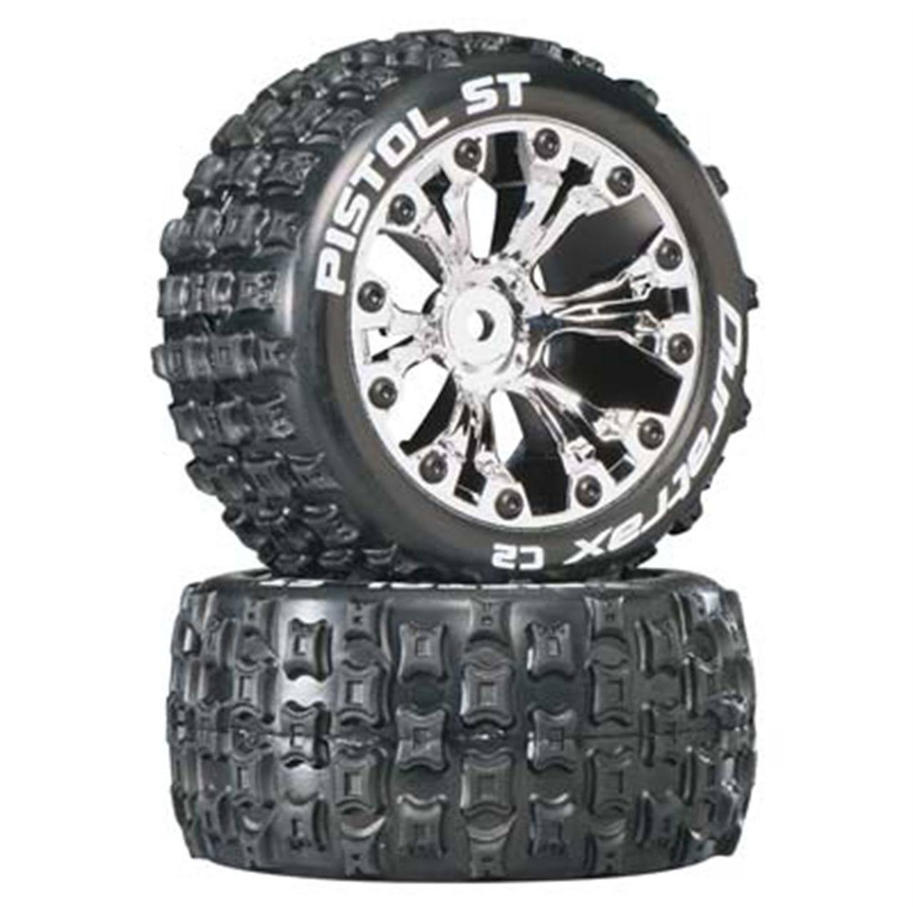 Duratrax DTXC3555 Pistol ST 2WD Mounted Rear C2 Tires - Chrome, 2.8in, 2-Pack