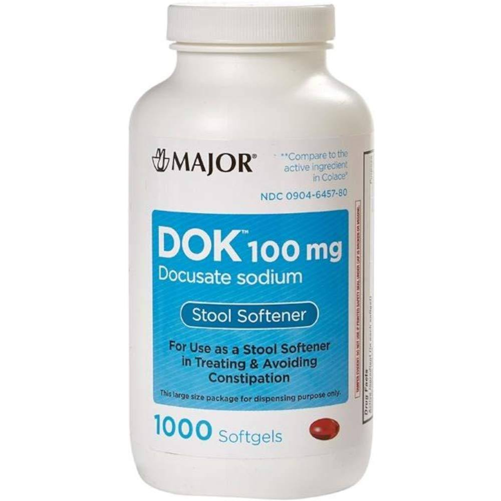 Dok 100 mg Docusate Sodium Stool Softener 1000 Softgels by Major
