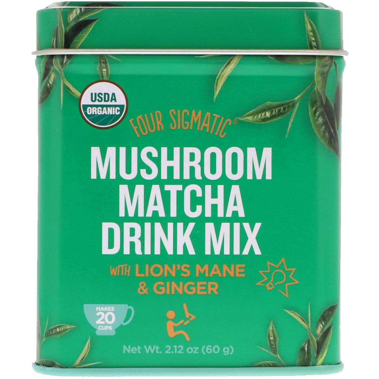 Four Sigmatic Organic Mushroom Matcha Drink Mix - with Lion's Mane and Ginger, 2.12oz