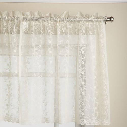 "Priscilla Lace Curtain, 60""W x 24""L Tier Pair Ivory"