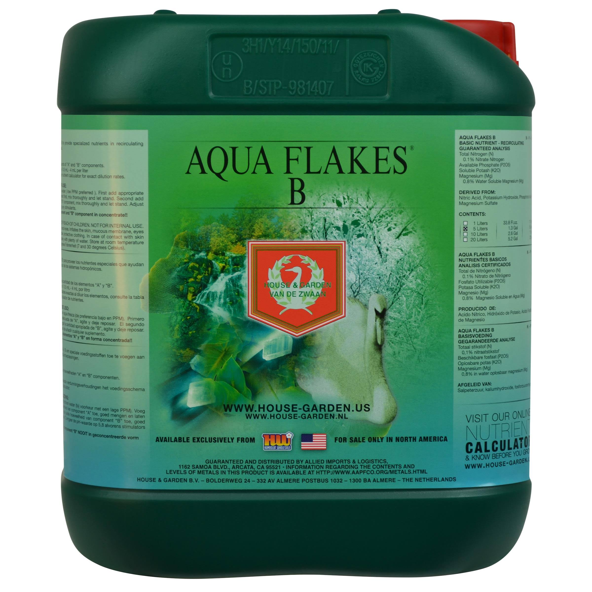 House and Garden Aqua Flakes B Fertilizer - 5L