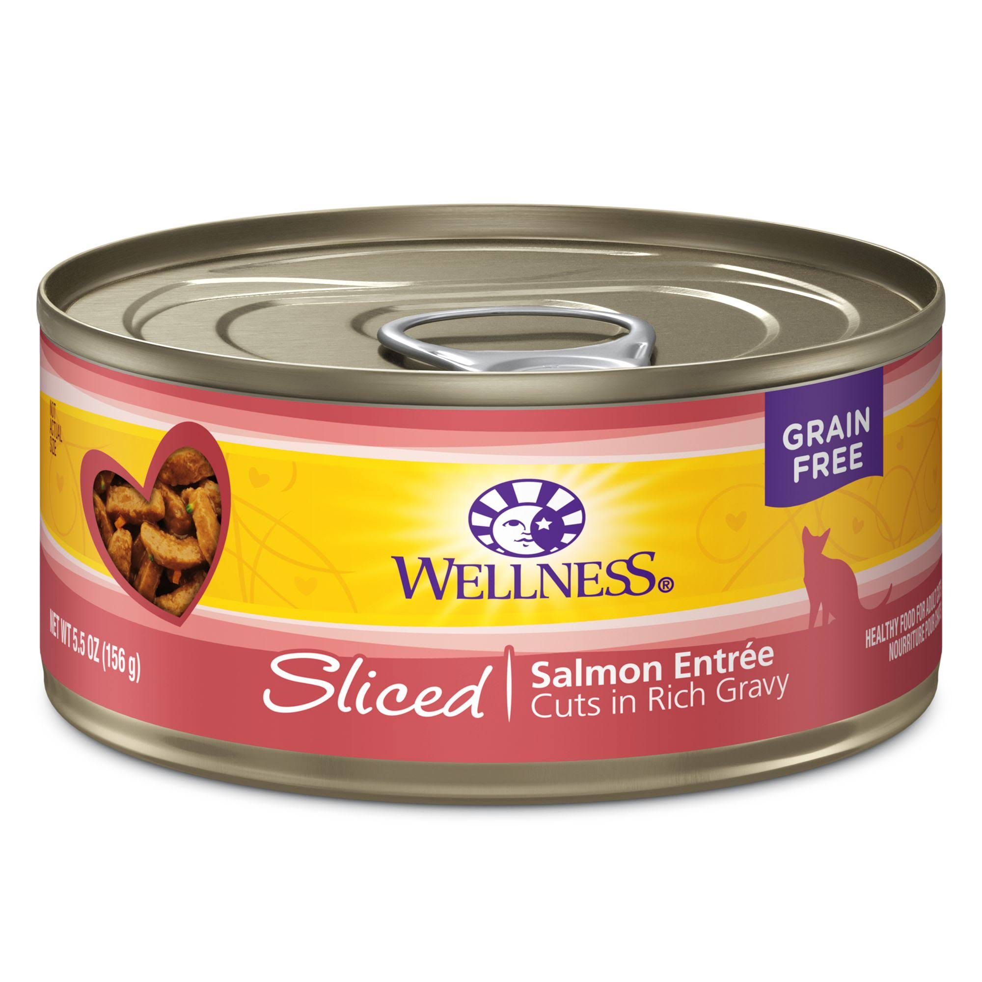 Wellness Natural Canned Grain Free Wet Cat Food - Sliced Salmon