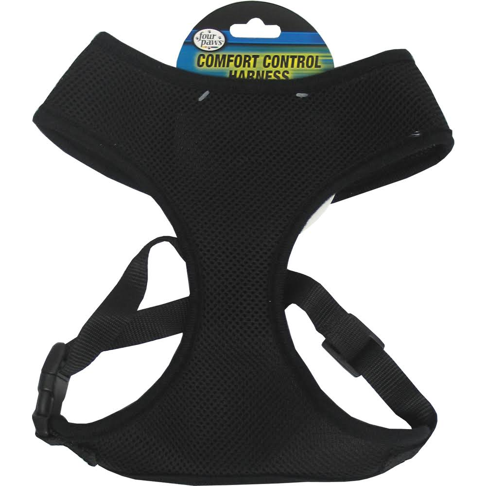 Four Paws Products Comfort Control Dog Harness - Black, Medium