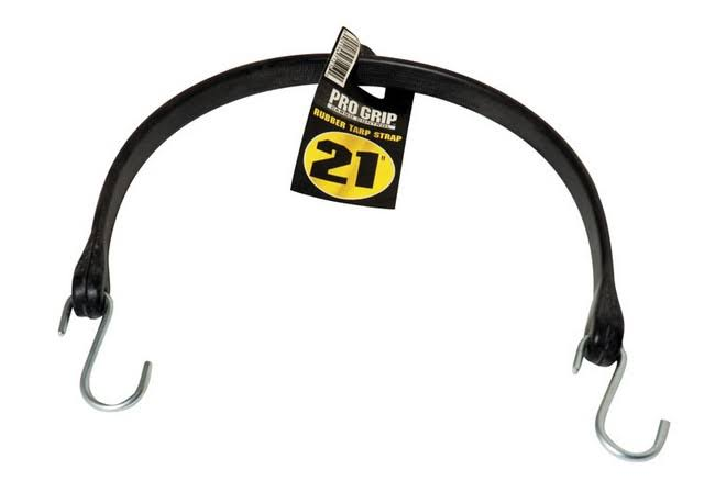 Progrip Rubber Tarp Strap - with S Hook, Black, 21""