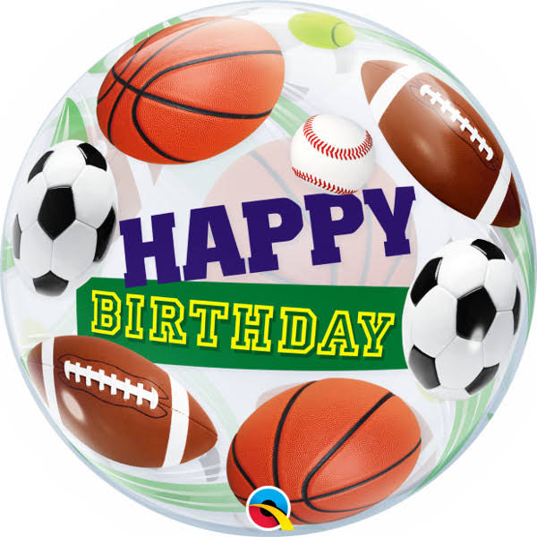 "22"" Birthday Sports Balls Bubble Balloon"