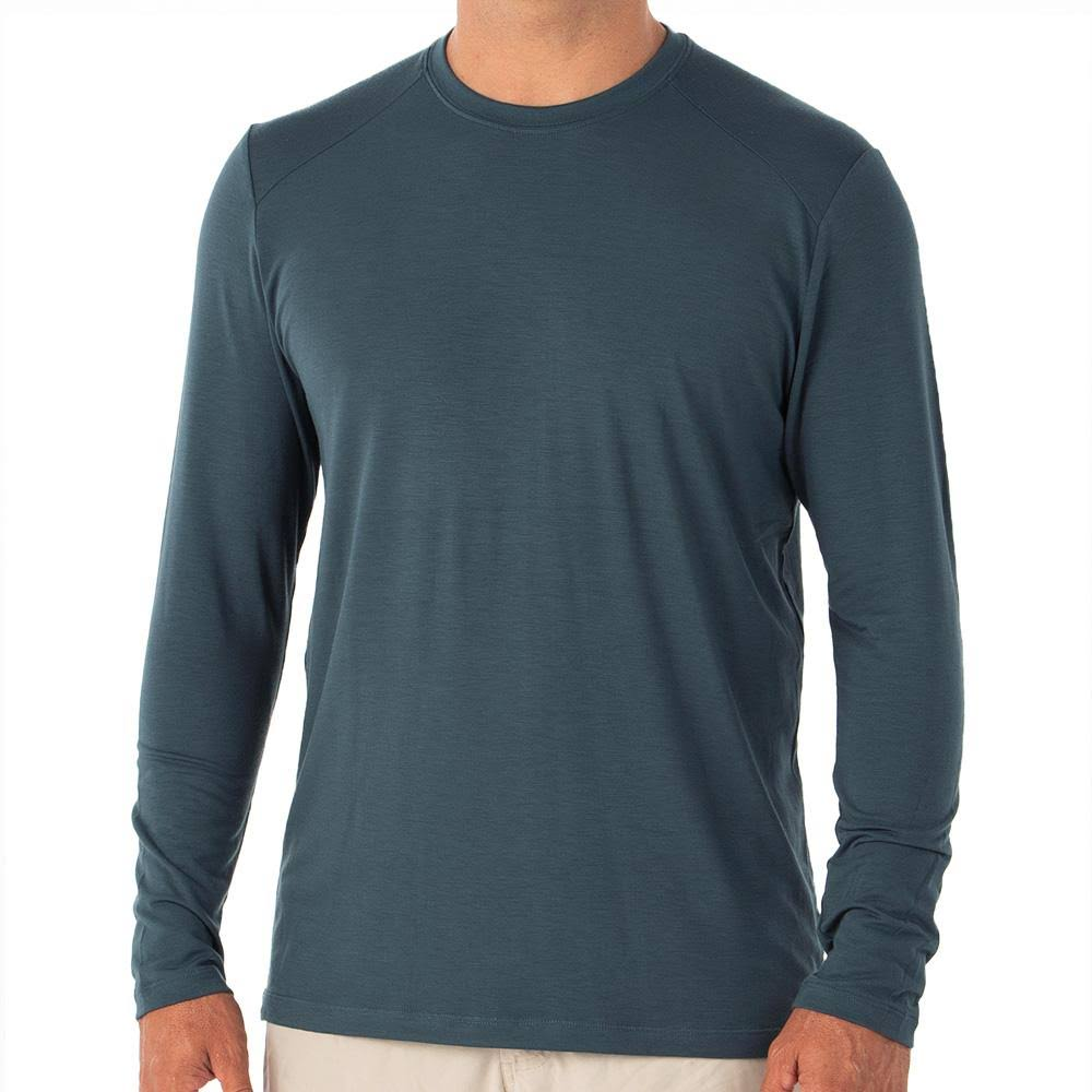 Free Fly Apparel: Men's Bamboo Midweight Long Sleeve - Blue Dusk