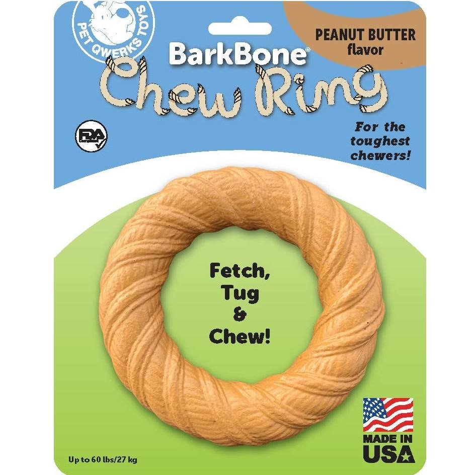 Pet Qwerks Barkbone Peanut Butter Chew Ring Dog Toy, Large