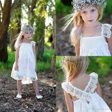 boho flower dresses for wedding with lace spaghetti strap