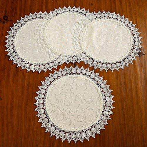 "Violet Linen Flower Bow Embroidered Lace Vintage Design Table Runner Ivory 16""D Round Table Runners"