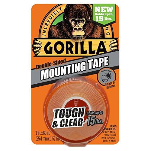 "Gorilla Double-Sided Mounting Tape - Tough and Clear, 1"" x 60"""