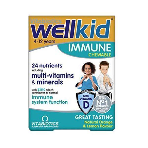 Vitabiotics Wellkid Immune Chewable - Orange Lemon Flavor, 30ct