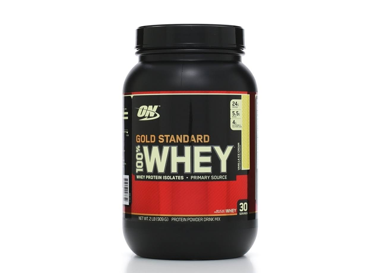 Optimum Nutrition Gold Standard Whey Protein - Vanilla Ice Cream Flavour, 908g