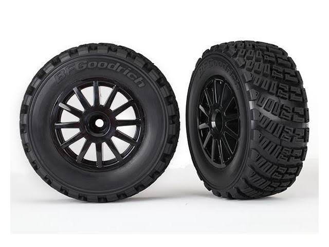 Traxxas Gravel Pattern Tires/Black Wheels Assembled/Glued TRA7473T