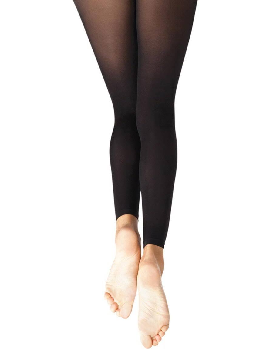Capezio Girl's Self Knit Waistband Footless Tights - One Size, Black