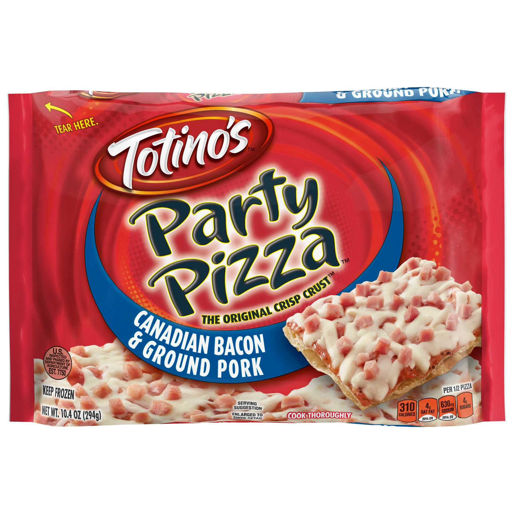 Totino's Party Pizza - Canadian Bacon and Ground Pork, 10.4oz