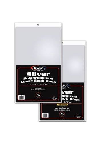 "BCW Silver Polypropylene Comic Book Bags - 7 1/4"" x 10 1/2"", 100 ct"
