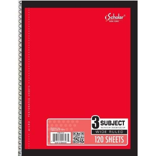 "iScholar 3 Subject Wirebound Notebook - 120 Sheets, 10.5"" x 8"""