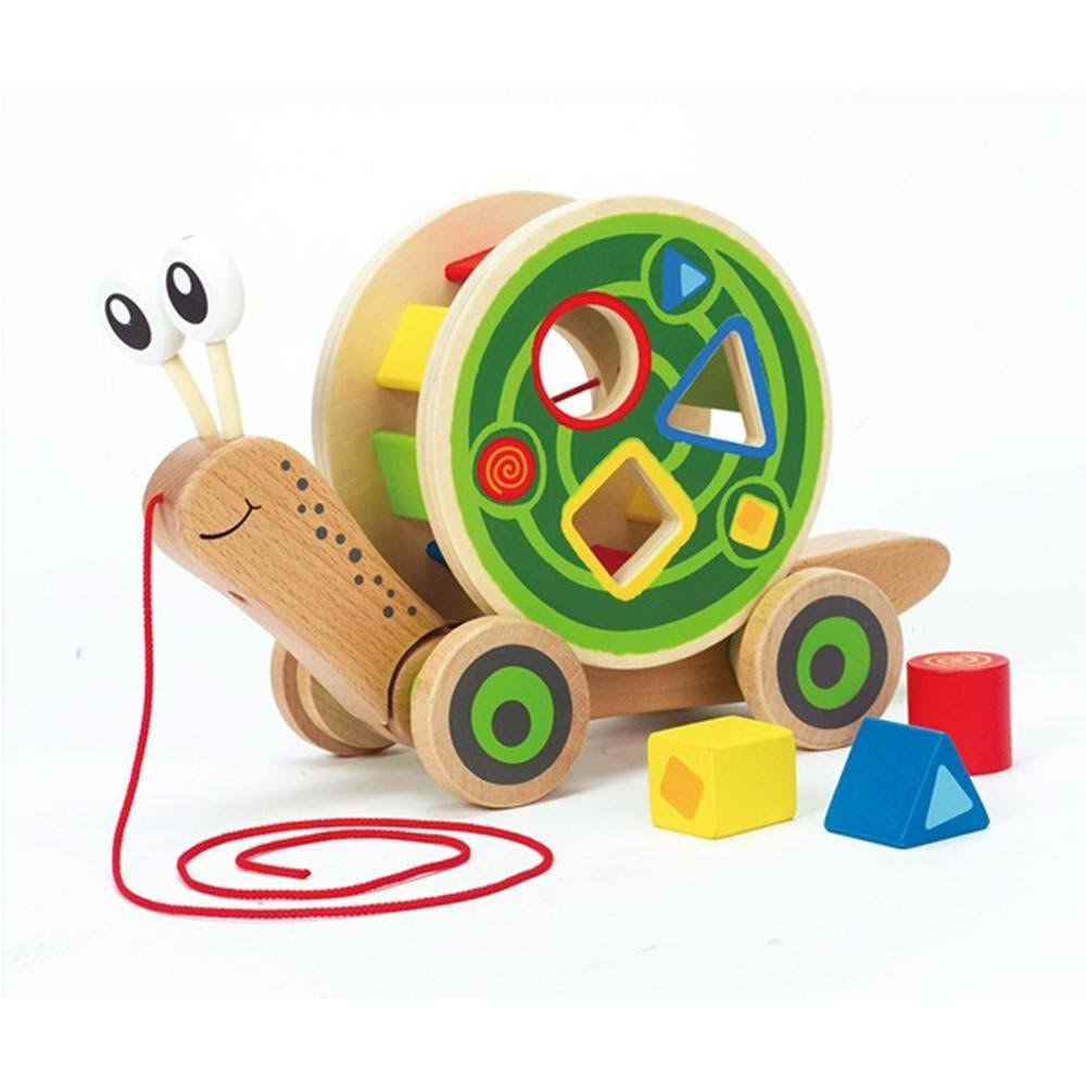 Hape Pull and Walk-A-Long Wooden Snail Toy
