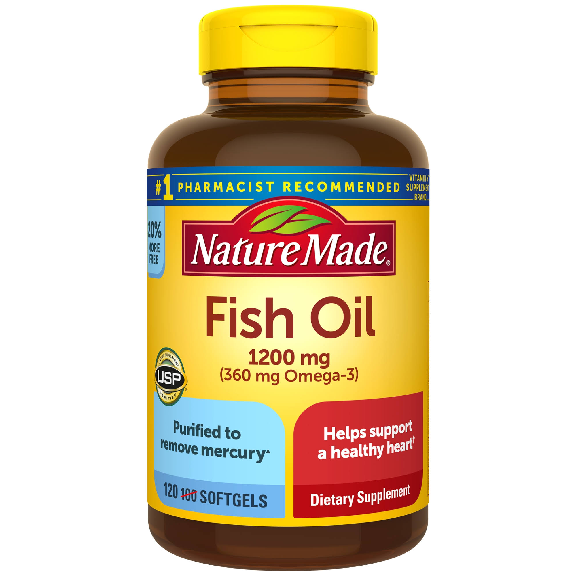 Nature Made Fish Oil Omega-3 Diet Supplement - 1200mg, 100ct