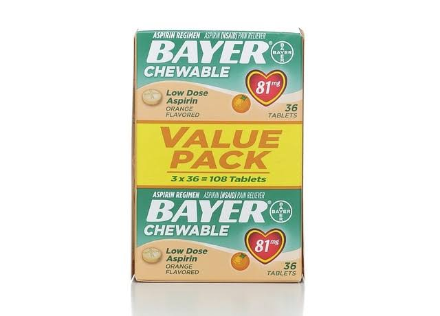 Bayer Low Dose Chewable Aspirin - Orange, 108 Tablets