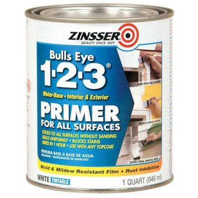 Rust-Oleum 2004 Zinsser Bulls Eye 1-2-3 Water-Based Interior/Exterior Primer Sealer - White, 1qt