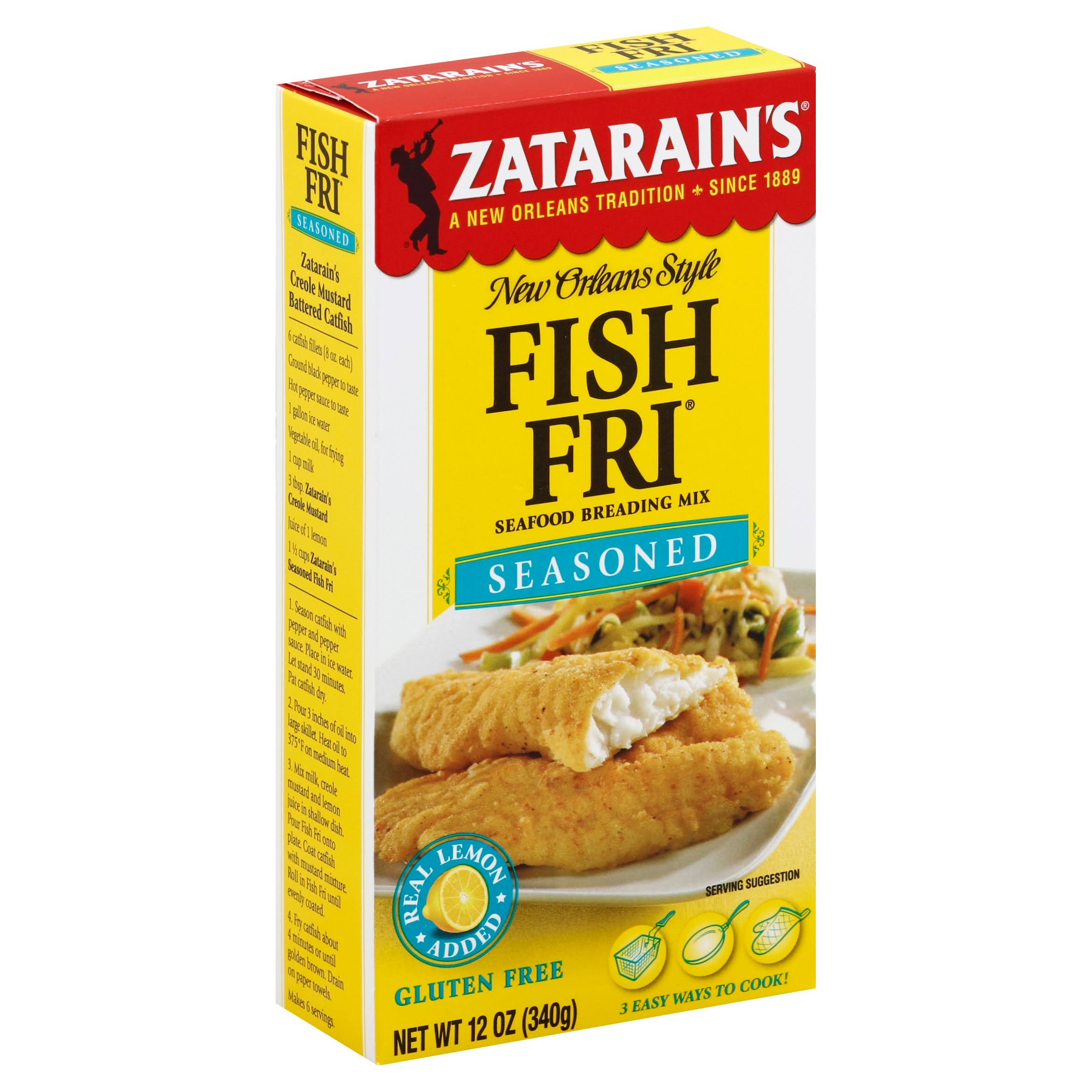 Zatarain's Fish Fri Seasoned Seafood Breading Mix - 12oz, Real Lemon Added