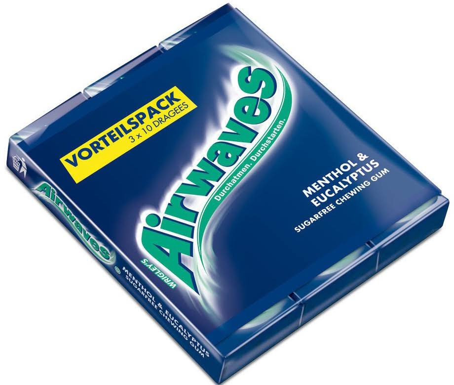 Wrigley's Airwaves Menthol and Eucalyptus Sugarfree Chewing Gum - 42g, 3pk