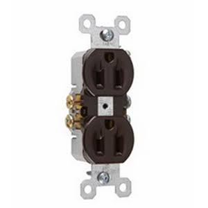Pass and Seymour Standard Duplex Outlet - Brown, 15A