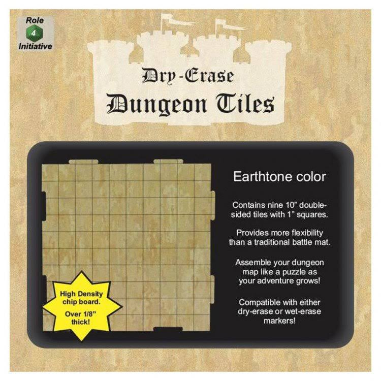 Dry Erase Dungeon Tiles Earthtone Role Playing Game - Set of Nine 25cm Interlocking Squares