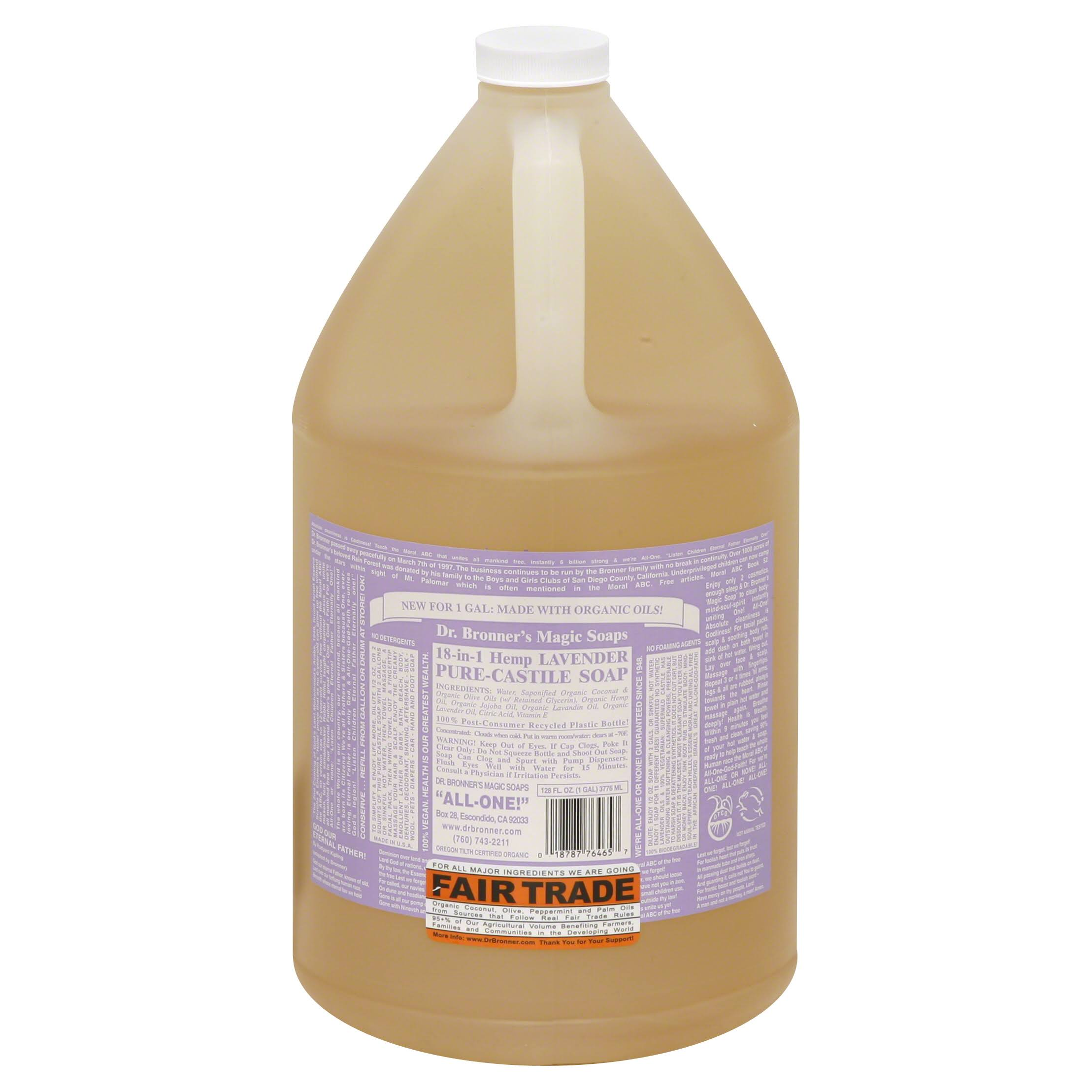 Dr. Bronner's Pure-Castile Liquid Soap - Lavender, 1 Gallon