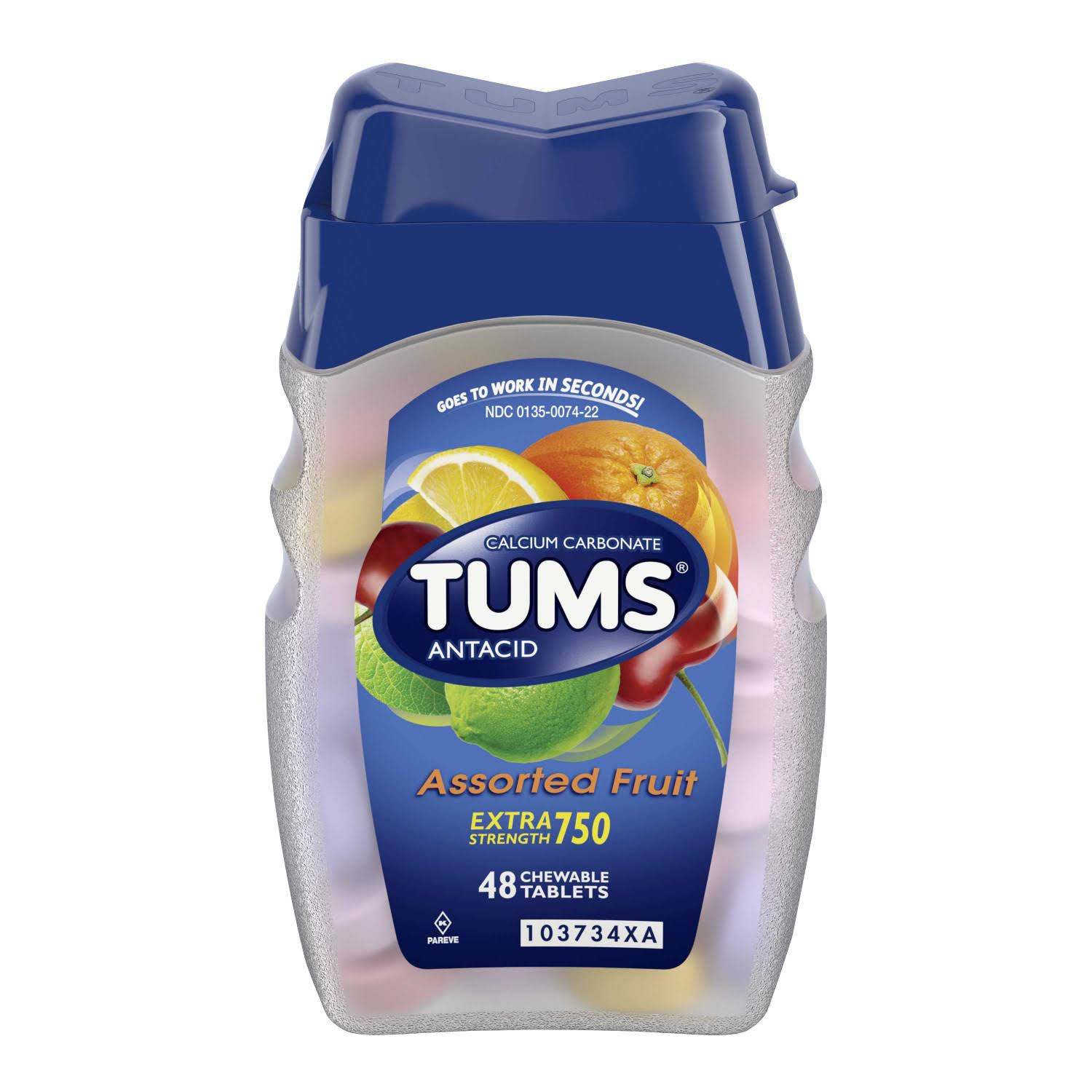Tums Antacid Assorted Fruit Chewable Tablets - 48 Pack