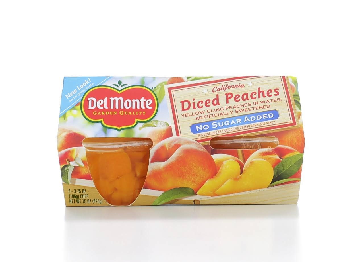 Del Monte No Sugar Added Diced Peaches - 3.75oz, 4ct
