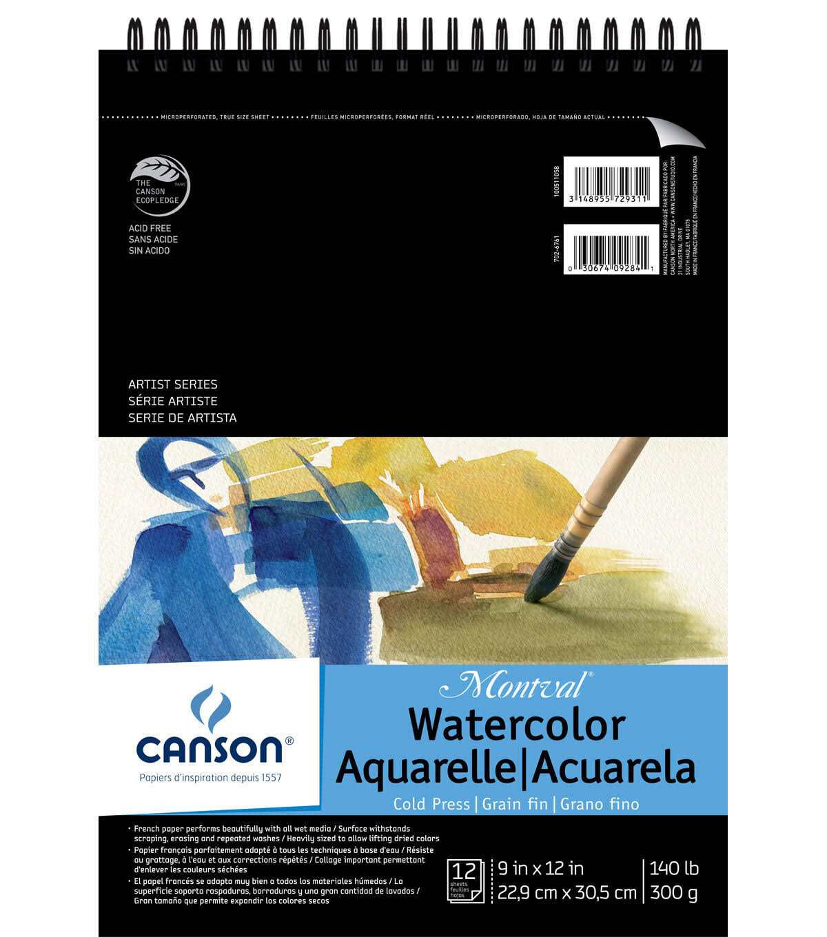 "Canson Top Spiral Bound Watercolor Pad - 12 Sheets, 9"" X 12"""
