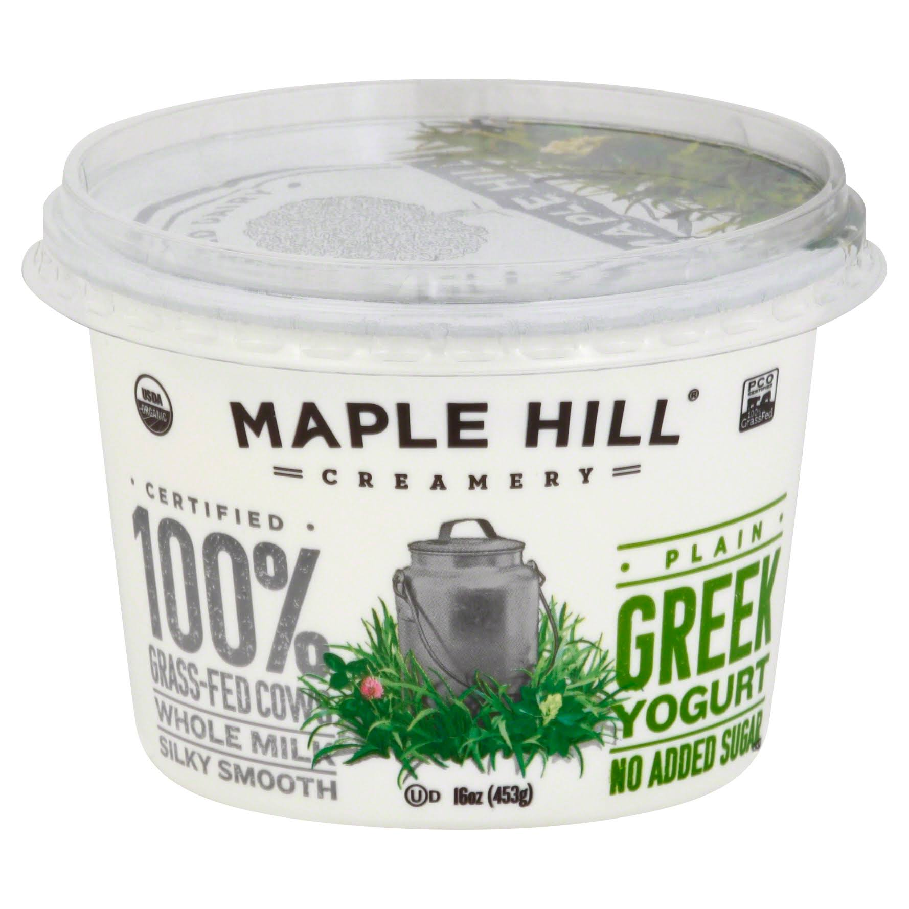 Maple Hill Creamery Grass Fed Organic Greek Yogurt - Plain, 16oz