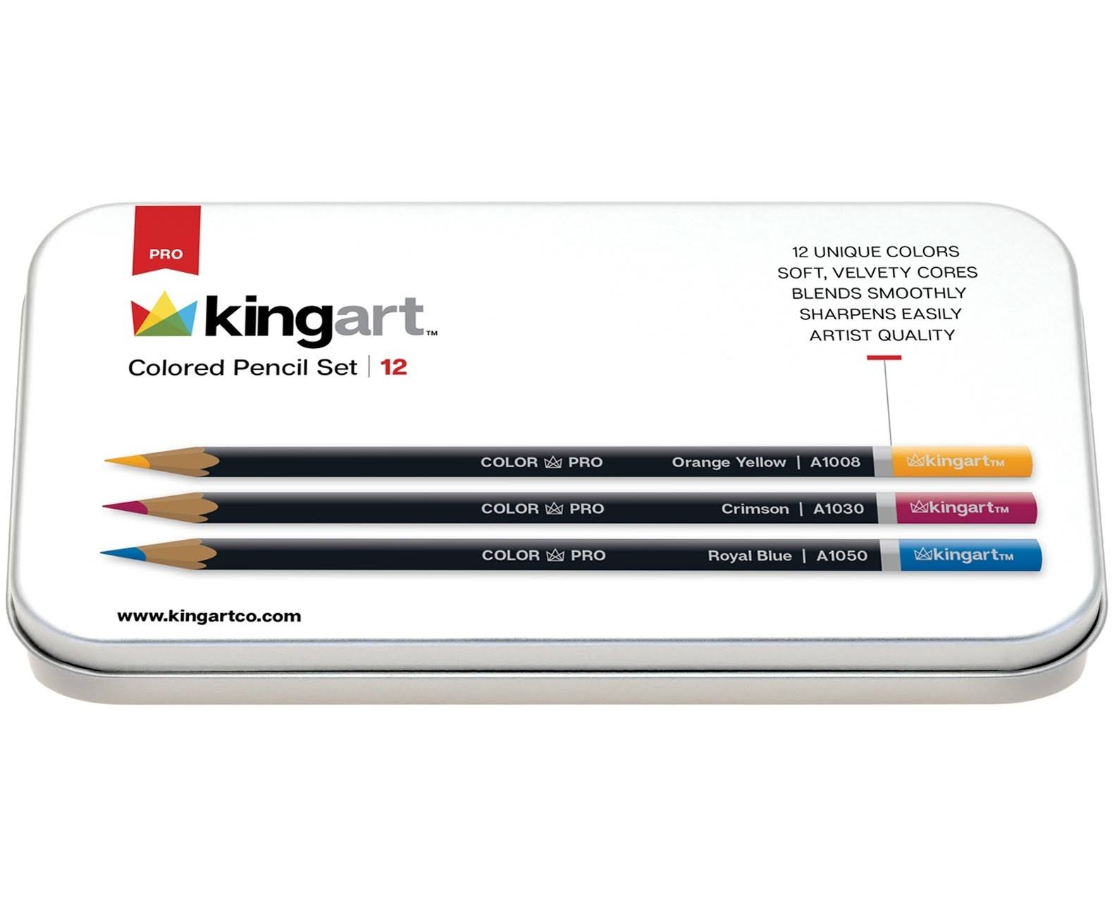 Kingart Assorted Colors - Colored Pencil Set in Tin Case 12/Pkg