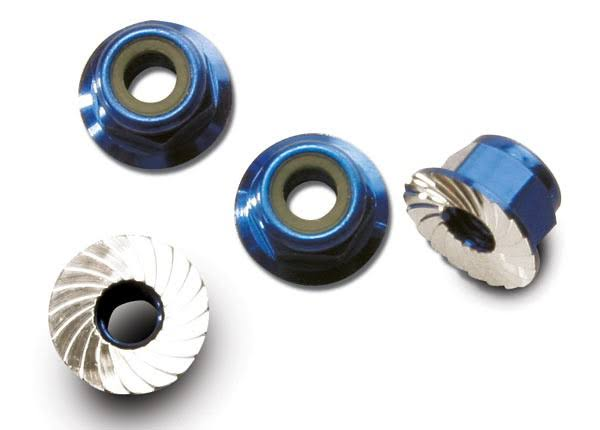 Traxxas Monster Jam Aluminum Flanged Serrated Locking Nuts - Blue, 4mm