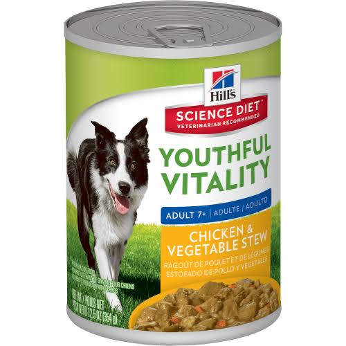 Hills Science Diet Adult 7 Youthful Vitality Wet Dog Food - Chicken and Vegetable Stew, 354g