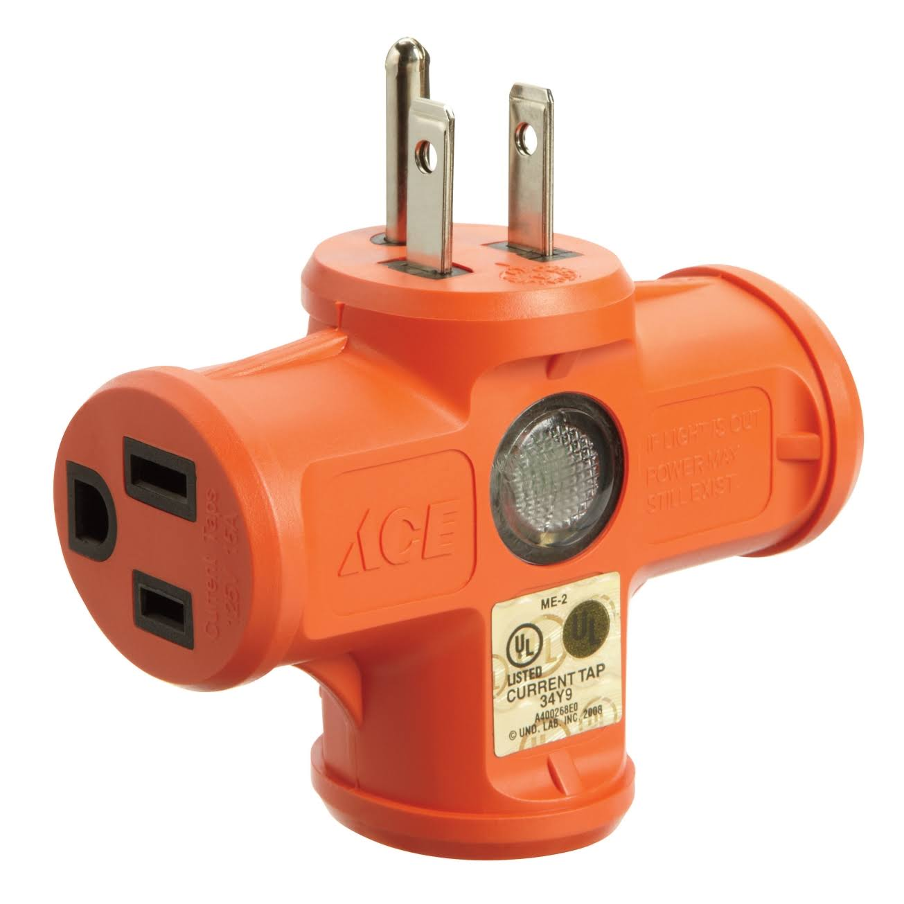 Ace Orange Heavy Duty Triple Outlet Adapter