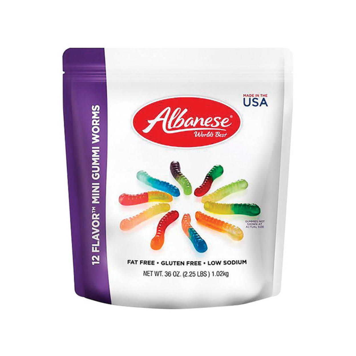Albanese 12 Flavor Mini Gummi Worms Candy - 36oz