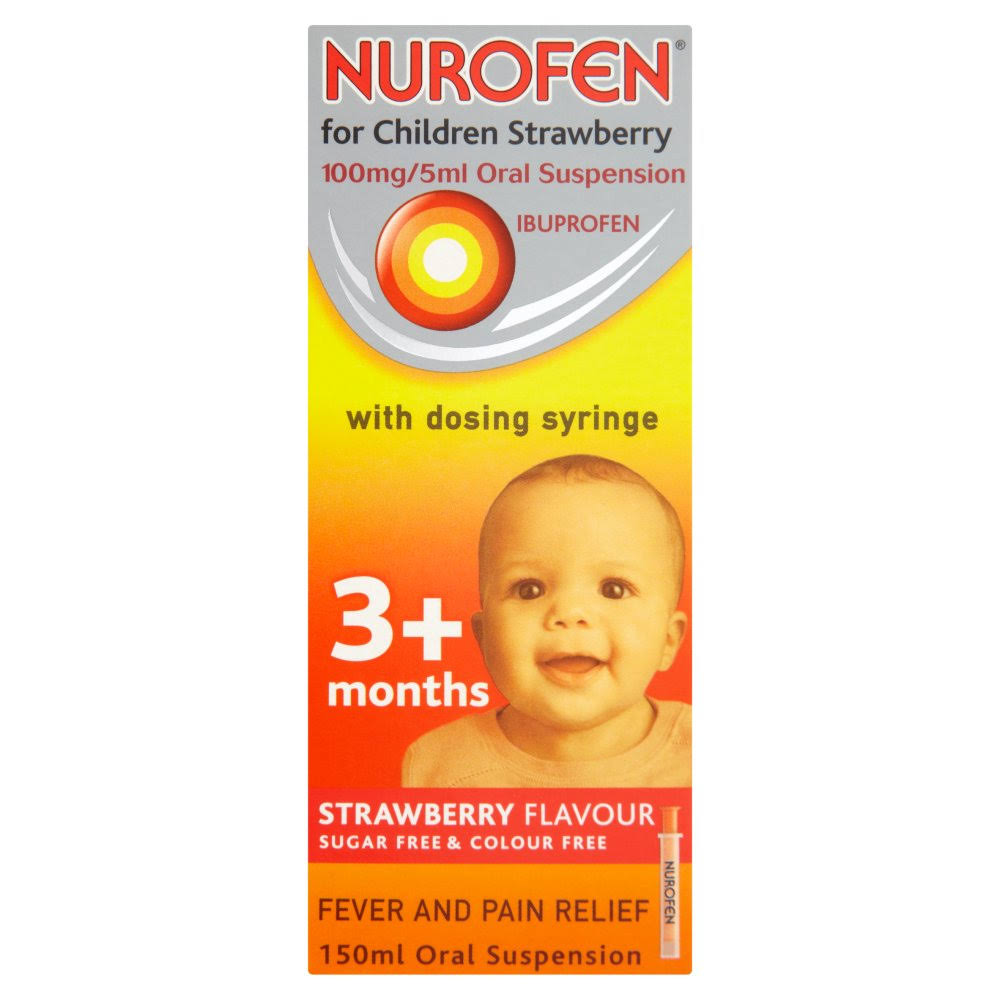 Nurofen for Children Fever and Pain Relief Oral Suspension - Strawberry Flavour, 3+ Months, 150ml