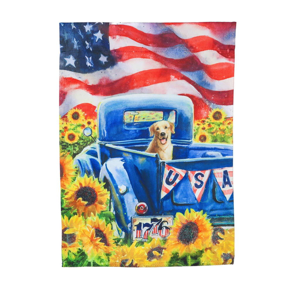 "Evergreen Enterprises Patriotic Truck and Dog Suede Garden Flag - 12.5"" x 18"""